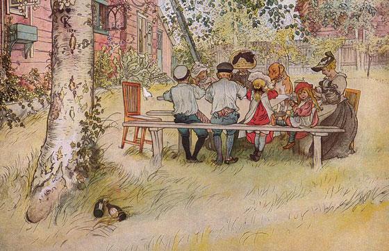Завтрак под берёзой Carl Larsson