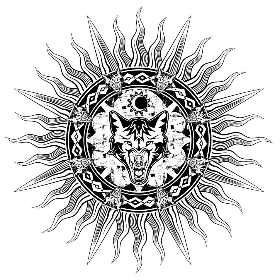 скандинавские тату эскиз солнце севера