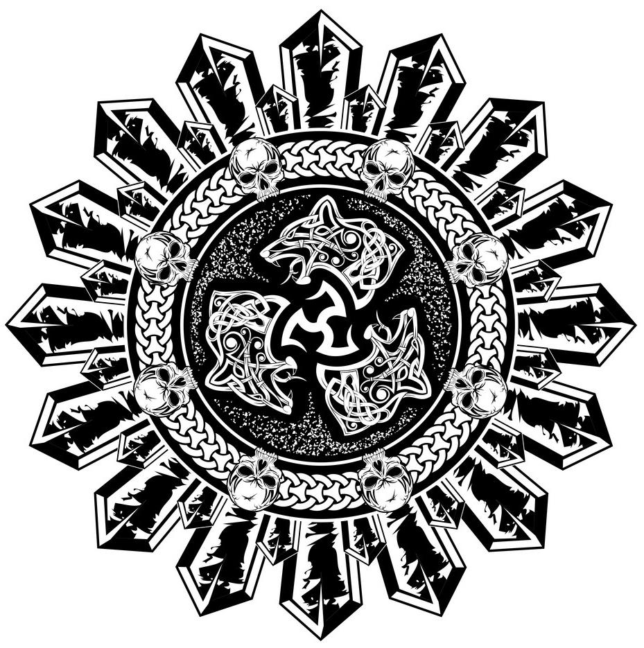 скандинавские тату эскиз черепа