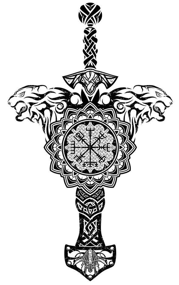 скандинавская тату эскиз меч