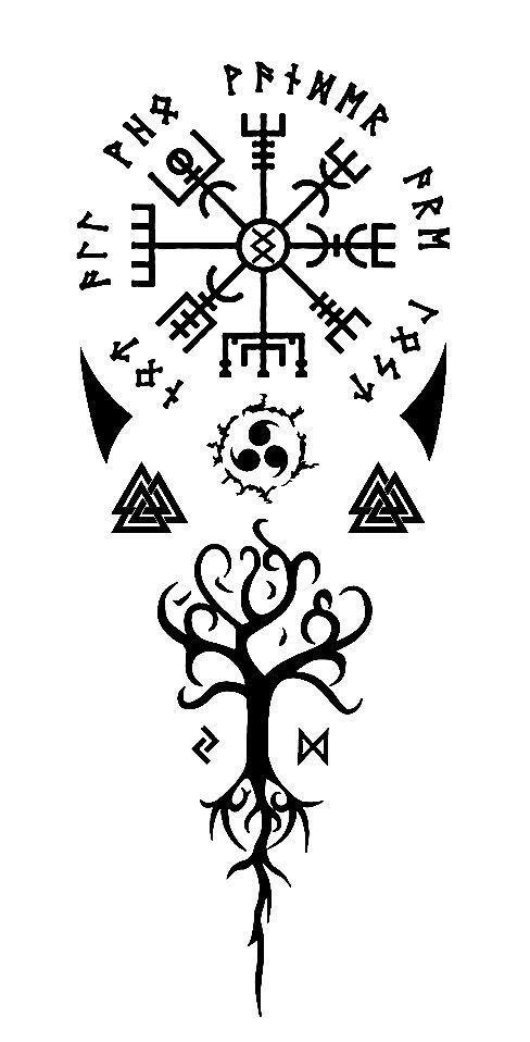 скандинавские тату эскиз дерево