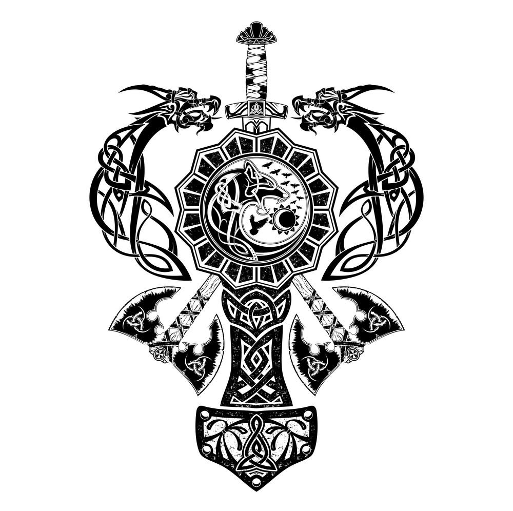 скандинавские тату эскиз векторные