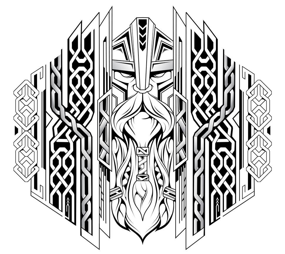 скандинавские тату голова викинга эскиз