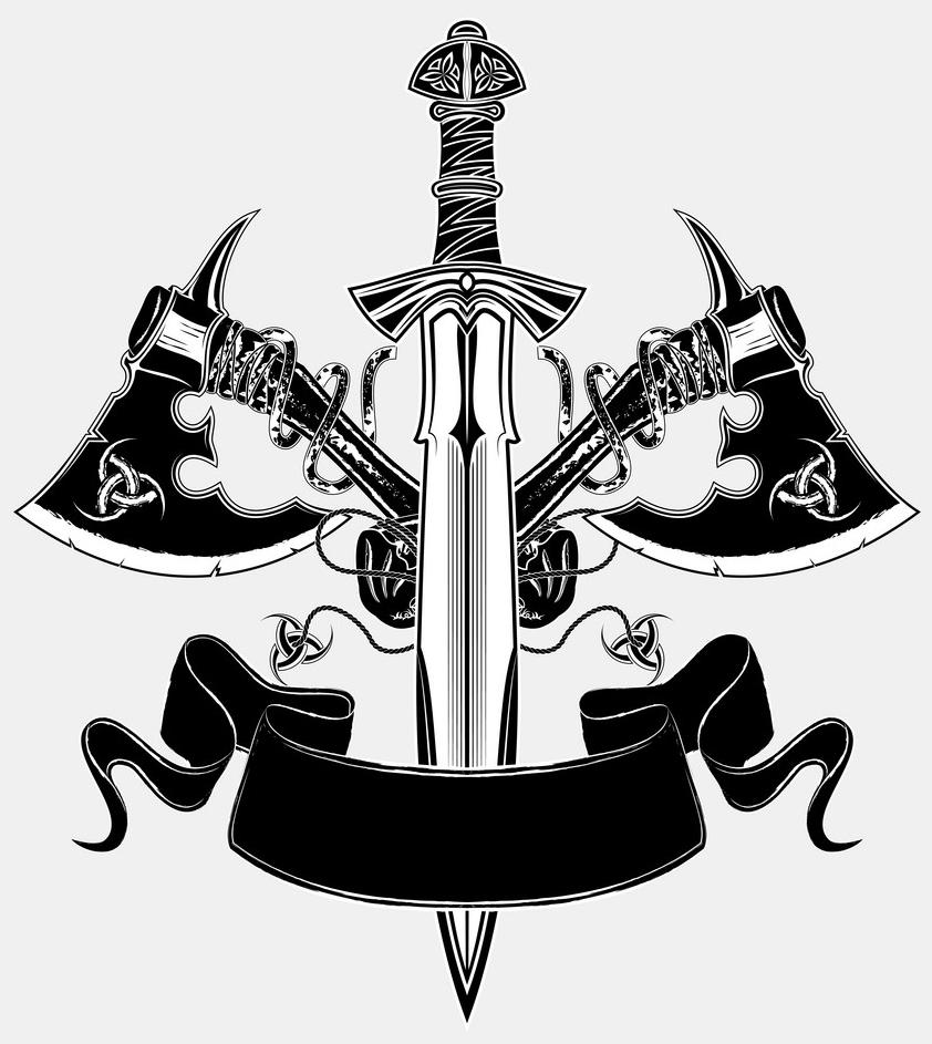 скандинавские тату эскиз меч