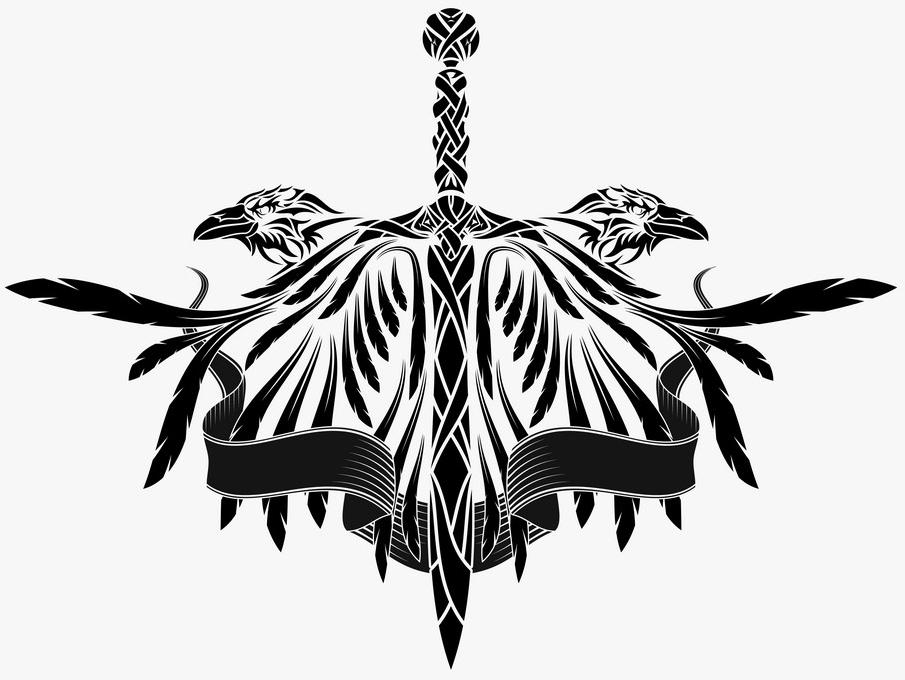скандинавские тату векторный эскиз