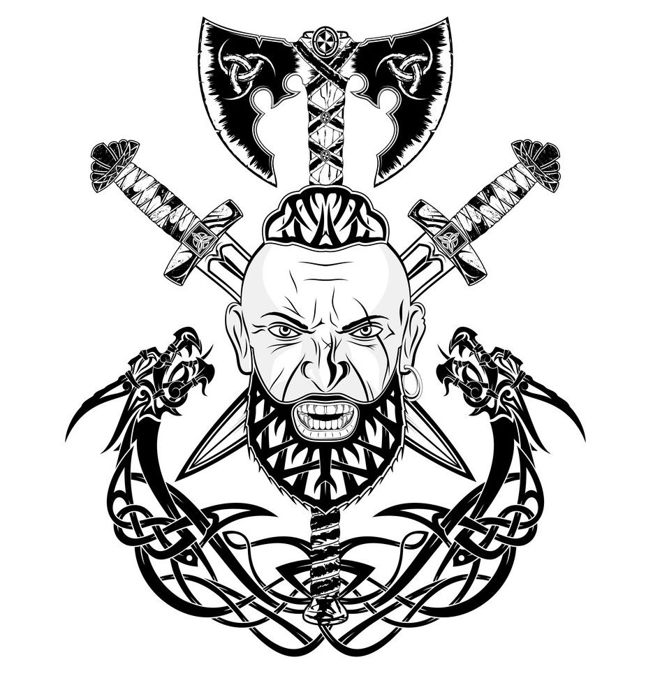 скандинавские тату викингов эскиз
